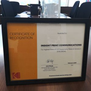 Kodak Certificate of recognition 2016